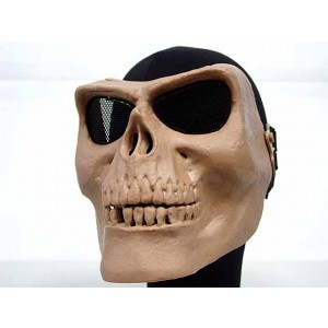 Airsoft Skull Skeleton Full Face Protector Mask Tan