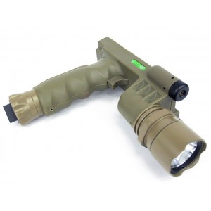Tactical LED Weapon Light Foregrip Flashlight w/ Green Laser DE
