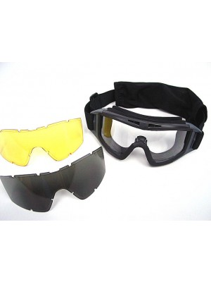 Airsoft Tactical Desert Goggle Glasses with 3 Lens Black